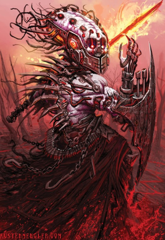 Knife Lord Demon (Steampunk Apocalypes). Signed Art print created by Austen Mengler Art.