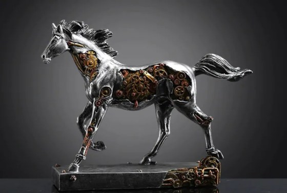 Steampunk Silver Horse Sculpture by Love Handmade RS
