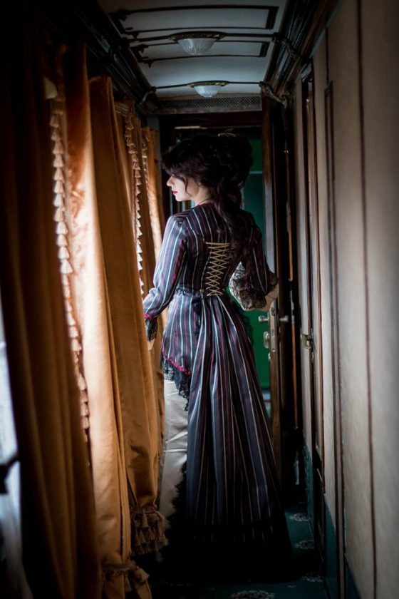 Steampunk Victorian dress, Jacket and mermaid tail skirt. Created by Dress Art Mystery.