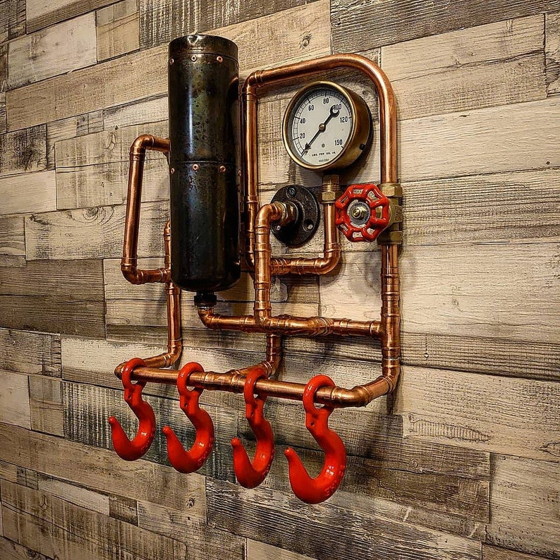 Steampunk Wall Art Retro Industrial Rustic Coat Rack. Created by TheLittleVintageLamp..