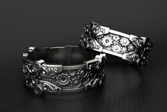Sterling Silver Steampunk Maching Wedding Rings Created by EclipsejewelleryGB.