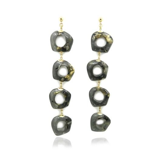 Carver Chain Earrings – Onyx/Gold