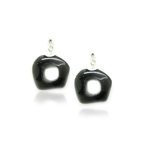 Carver Short Earrings – Onyx/Silver