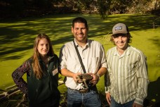 The release team: Eugenie Riberi, Lindsay Wildlife Museum (left), the author (center), and George Phillips, Save Mount Diablo (right)