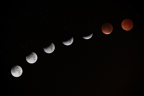 This photograph if a series of moons. It was taken by Jake Hills and published at Unsplash.com