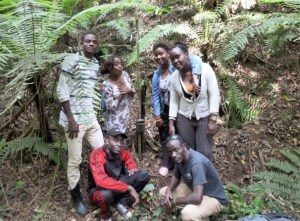 Equatoguinean university students having fun while learning how to set up camera traps for wildlife research, January 2016 (Photo by Kristin Brzeski/BI).
