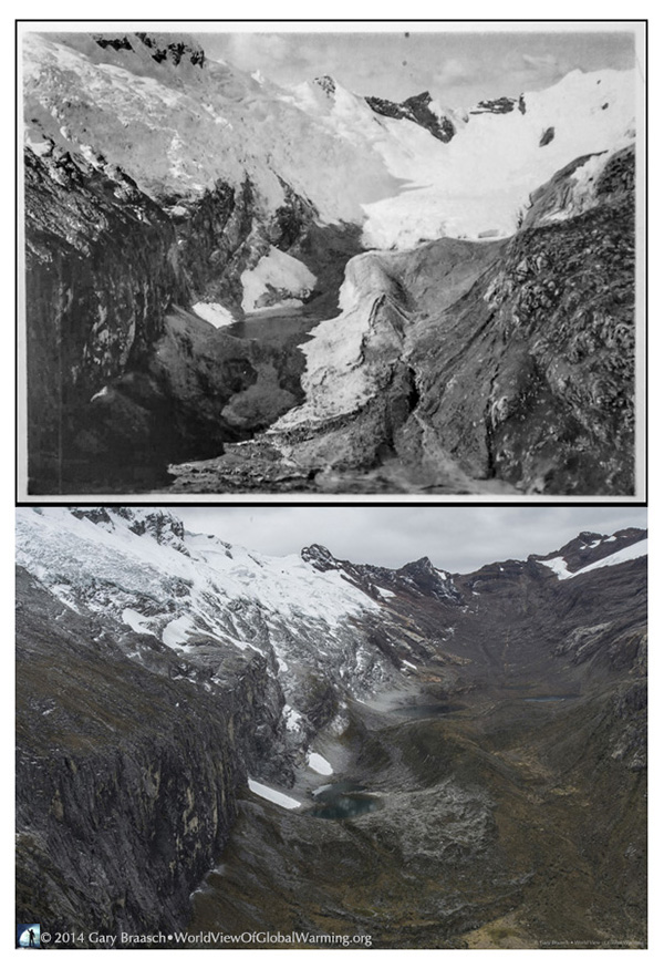 two photos in the Andes top photo black and white Broggi Glacier in 1932 compared with 2014 below