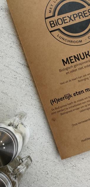 Menukaart lunchroom De BioExpress Nieuw-Vennep