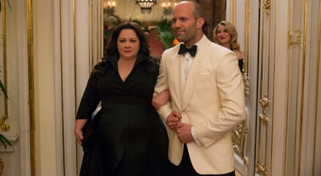 Melissa McCarthy and Jason Statham in a scene from the motion picture