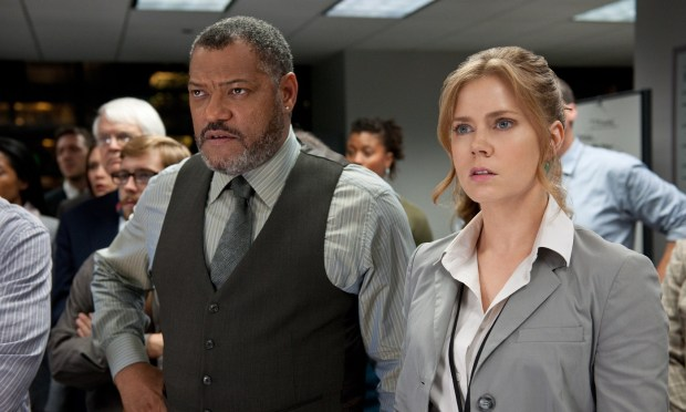 "(L-r) LAURENCE FISHBURNE as Perry White and AMY ADAMS as Lois Lane in Warner Bros. Pictures' and Legendary Pictures' action adventure ""MAN OF STEEL,"" a Warner Bros. Pictures release."