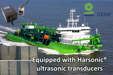 Harsonic equipment mounted on boxcoolers of this DEME dredger