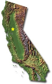 Topographic map of the state of California.