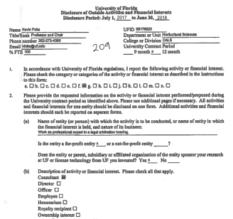 "Screenshot of Kevin Folta's disclosure form showing he checked ""consultant"" as the type of work."