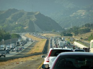 Los Angeles traffic Newhall Pass vehicles harmful emissions transportation