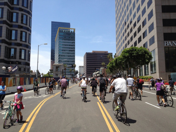 CicLAvia - Bike Riding up Wilshire Blvd