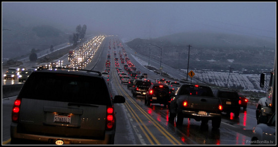 Holiday traffic cars emissions snow weather