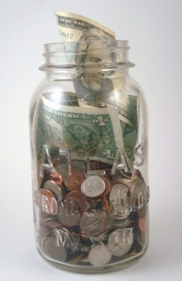 coin jar saving money budget
