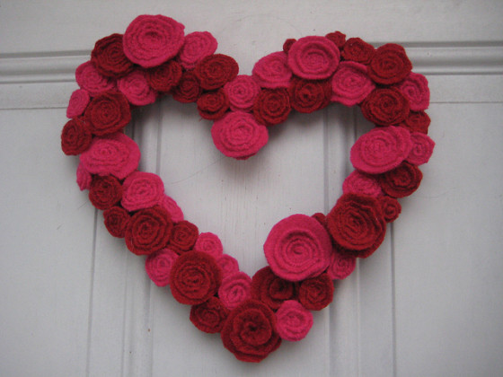 Upcycled sweater wreath Valentine's Day heart love