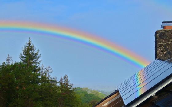 solar panel rainbow