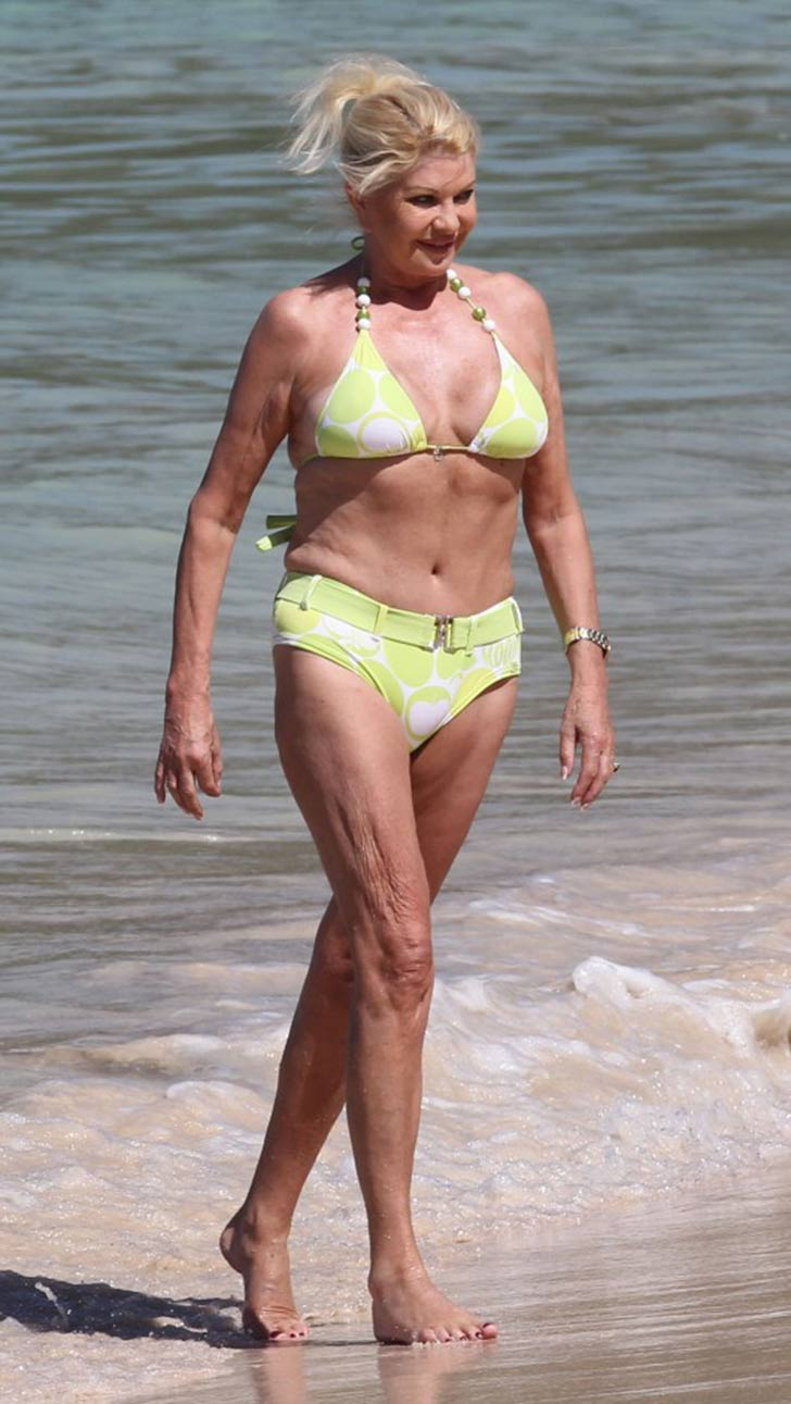 Ivana Trump in a yellow bikini.