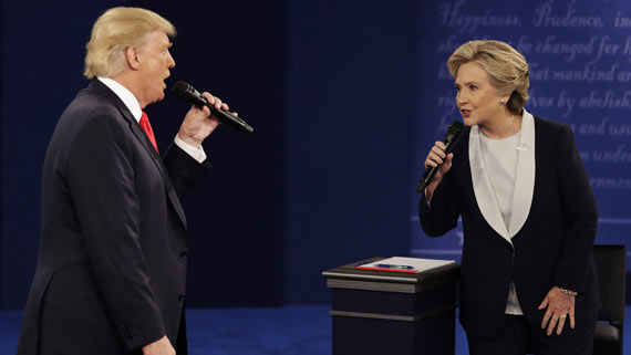 Donald Trump and Hillary Clinton debating in second presidential debate.