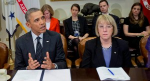 44th US President Barack Obama, with Patty Murray.