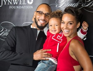 Alicia Keys with her husband and son.