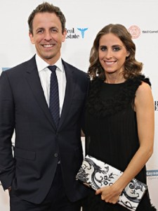 Seth Meyers with his wife. The couple has a son together who was born on 2017.