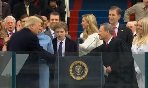 Donald Trump and John Roberts during the swearing ceremony of the President.