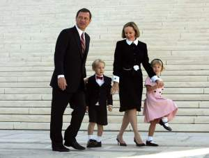 John Roberts with his wife and children. The couple has two children a son and a daughter.