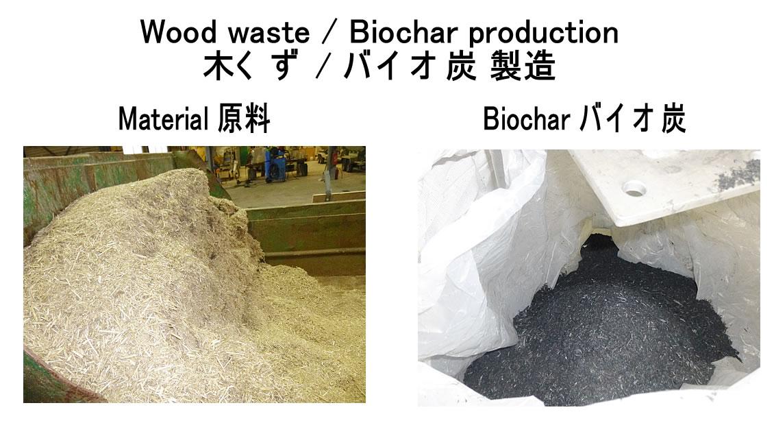 木くず 熱分解 バイオ炭製造 2018.1.5