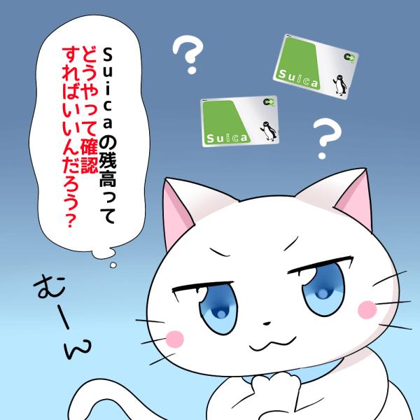 背景にSuicaがあり、白猫が 「Suicaの残高ってどうやって確認すればいいんだろう?」 と考えているシーン