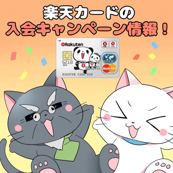 イラスト文字で 「楽天カードの入会キャンペーン情報!」 と記載し、下に白猫と博士がいるイラスト(背景に楽天カード)