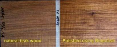 Bandingkan bedanya kayu yang sudah dipolish dengan Biopolish Linseed Oil dan yang belum.