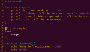 Script bash en cours d'édition sous VIM