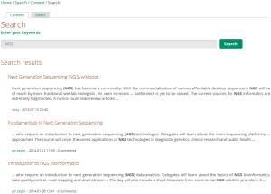 Exemple du résultat de recherche pour le mot clé NGS