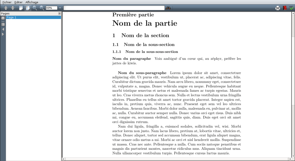 Exemple de structuration du document avec LaTeX