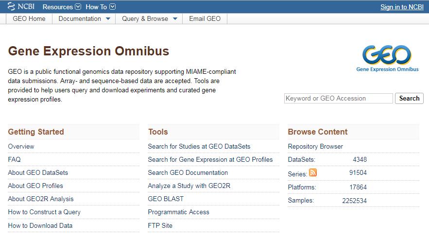 Page d'accueil de NCBI/GEO
