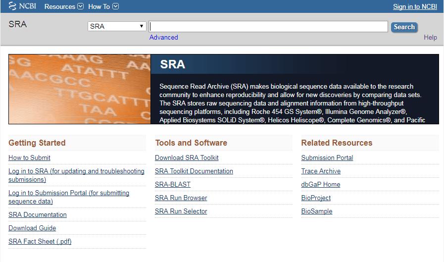 Page d'accueil de SRA