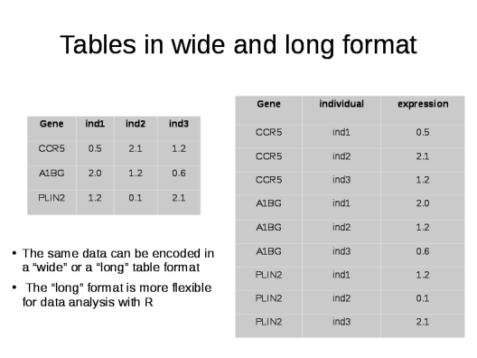 DIfference between a dataset in a wide or a long format
