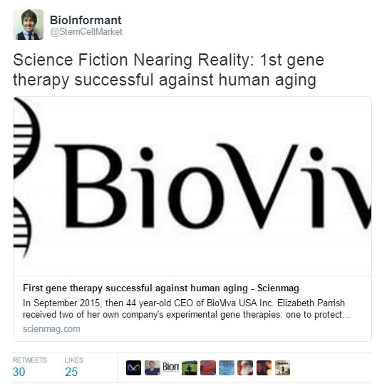 Bioviva announces first gene therapy successful against human aging
