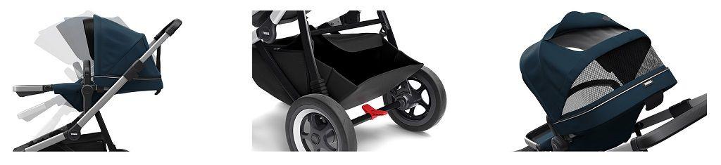 Thule Sleek crni okvir siva dječja kolica