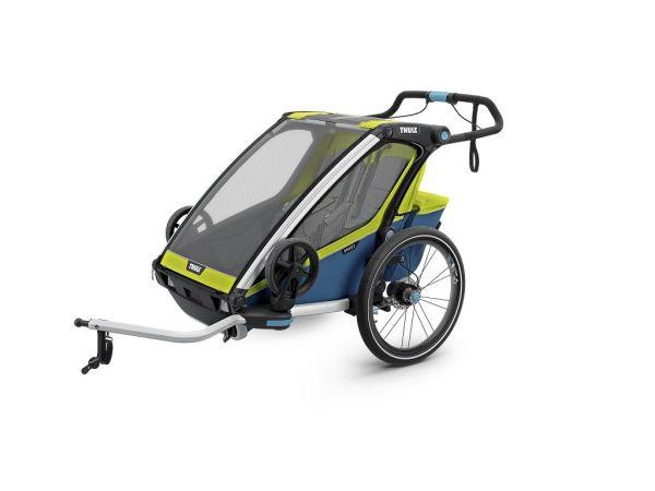 Thule Chariot Sport 2 žuto/plava dječja kolica za dvoje djece