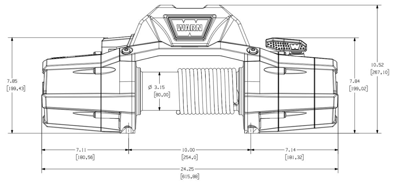 Premium vitlo Warn Zeon 10-S, 12V, 4.536kg sa sintetskim užetom, vodilicom i žičnim daljinskim