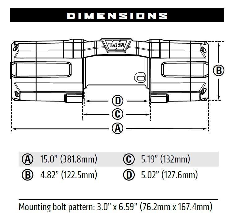Vitlo Warn Axon 55 Powersport, 12V, 2.495kg sa čeličnom sajlom i vodilicom s žičnim daljinskim, s pokazivačem preopterećenosti/zagrijavanja