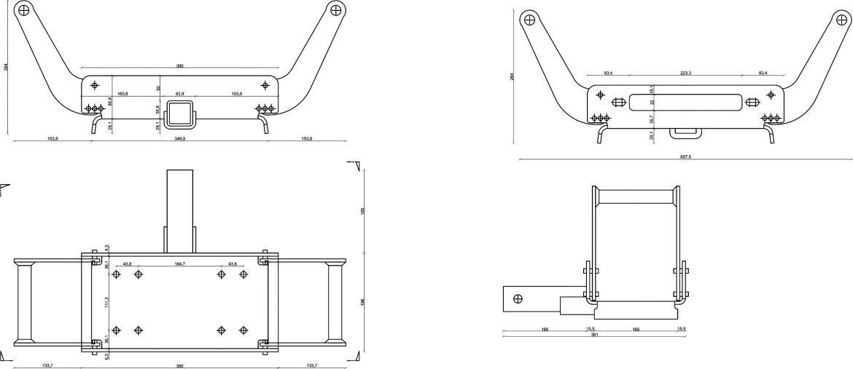 Multimount univerzalni nosač vitla veliki s kvadratnim završetkom