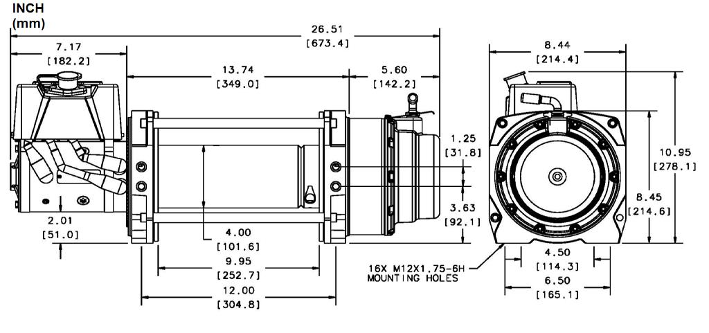 Industrijsko vitlo Warn Series 18, 24V, 8.165kg bez sajle i vodilice, s žičnim daljinskim