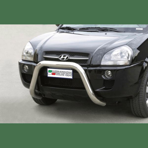Misutonida Bull Bar Ø76mm inox srebrni za Hyundai Tucson 2004-2014 s EU certifikatom