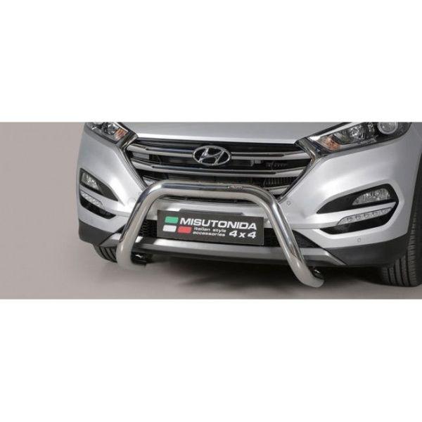Misutonida Bull Bar Ø76mm inox srebrni za Hyundai Tucson 2015-2017 s EU certifikatom