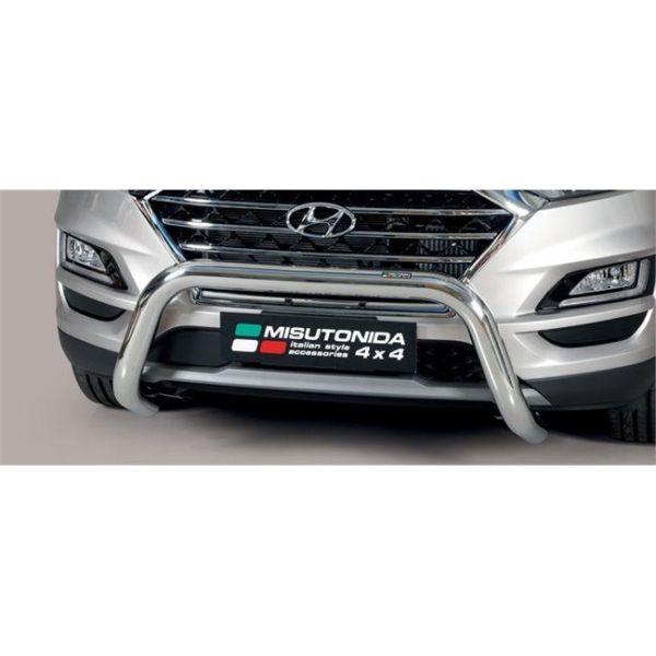 Misutonida Bull Bar Ø76mm inox srebrni za Hyundai Tucson 2018+ s EU certifikatom